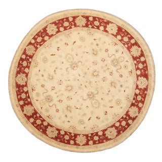 Herat Oriental Afghan Hand-Knotted Vegetable Dye Oushak Ivory/ Red Wool Round Rug (6'7 x 6'7)