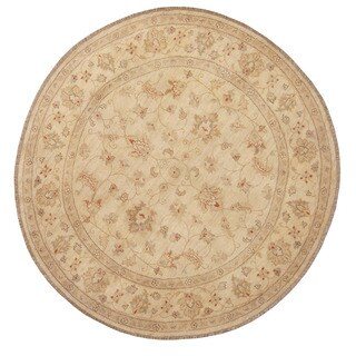 Herat Oriental Afghan Hand-knotted Vegetable Dye Oushak Wool Round Rug (6' x 6') - 6' x 6'