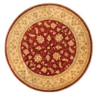 Herat Oriental Afghan Hand-Knotted Vegetable Dye Oushak Red/ Ivory Wool Round Rug (6' x 6')