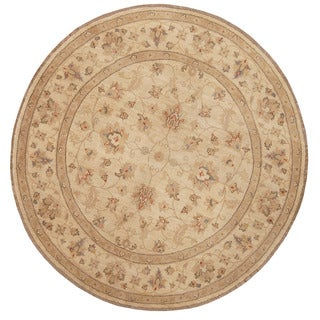 Herat Oriental Afghan Hand-knotted Vegetable Dye Oushak Wool Round Rug (6' x 6')