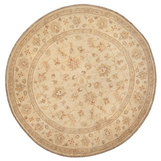 Herat Oriental Afghan Hand-knotted Vegetable Dye Oushak Wool Round Rug (6'1 x 6'1)