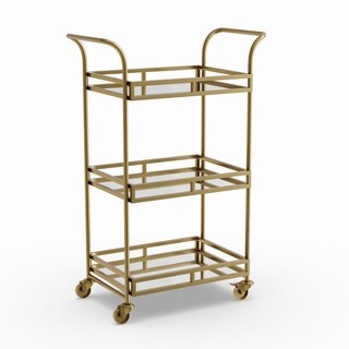 Sterling Goldtone Metal Bar Cart