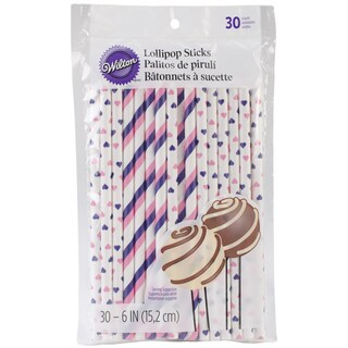 Lollipop SticksPink & Purple 6in 30/Pkg
