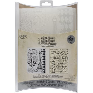 Sizzix Texture Fades A2 Embossing Folders 2/PkgEiffel Tower/French Script By Tim Holtz