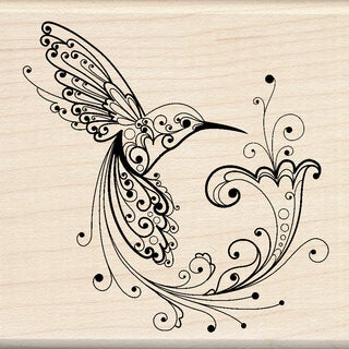 Inkadinkado Mounted Rubber Stamp 3inX3inHummingbird