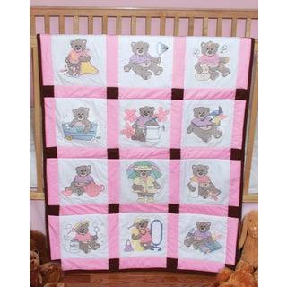 Stamped Baby Quilt Blocks 9inX9in 12/PkgGirl Bears