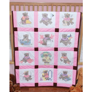 Stamped Baby Quilt Blocks 9inX9in 12/PkgGirl Bears|https://ak1.ostkcdn.com/images/products/10571299/P17648201.jpg?impolicy=medium