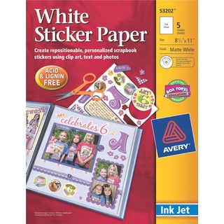 Ink Jet Sticker Paper W/CD 8.5inX11inMatte White 5/Pkg