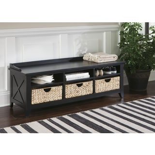 Hearthstone Rustic Black Cubby Storage Bench