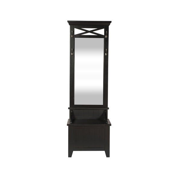 Shop Hearthstone Rustic Black Mirrored Hall Tree With Bench Storage