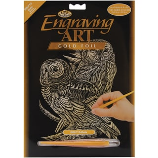 Gold Foil Engraving Art Kit 8inX10inOwls