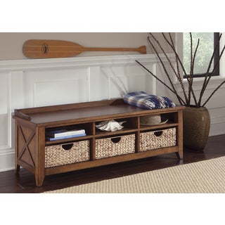 Hearthstone Rustic Oak Cubby Storage Bench