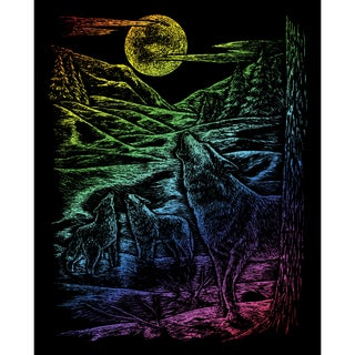 Rainbow Foil Engraving Art Kit 8inX10inHowling Wolves