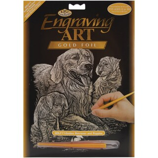 Gold Foil Engraving Art Kit 8inX10inGolden Retriever & Puppies