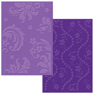 Sizzix Textured Impressions A6 Embossing Folders 2/PkgDamask & Beaded Floral Stripe