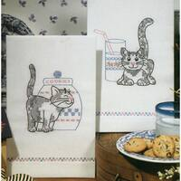 Stamped Kitchen Towels For Embroidery 17inX30in 2/PkgKittens