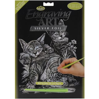 Silver Foil Engraving Art Kit 8inX10inCat & Kittens