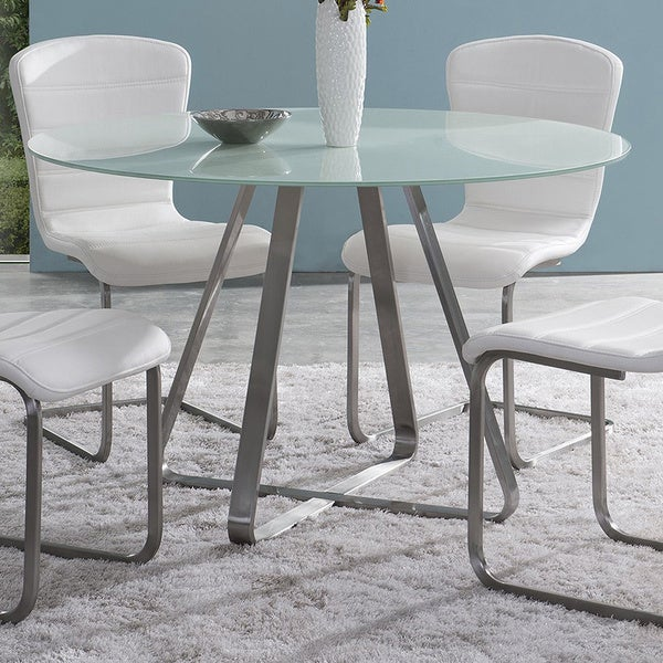 Cameo Modern Stainless Steel Dining Table With Painted Glass Top   White