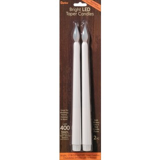 LED Taper Candles 11in 2/PkgWhite