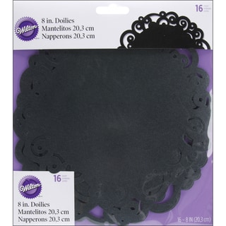 Doilies 8in Round 16/PkginBlack Swirl
