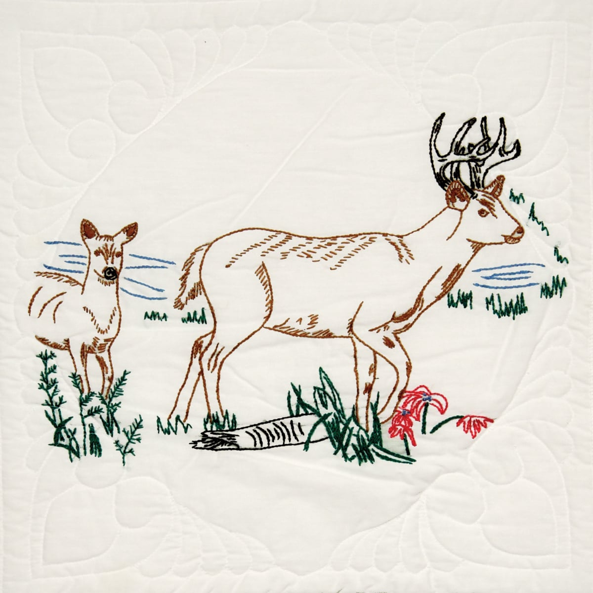 Fairway Stamped Quilt Blocks 18inX18in 6/PkgDeer (Deer), ...