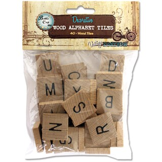 Vintage Collection Wood Alphabet Tiles .75in 40/PkgNatural