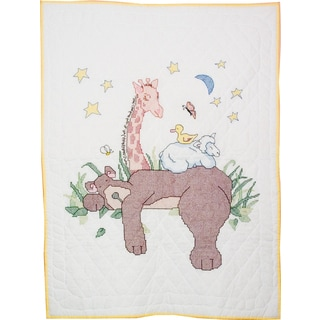 Stamped Baby Quilt Top 36inX50inSleeping Bear