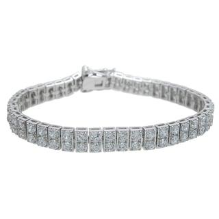Plutus Brands Sterling Silver High Polish Round-cut Cubic Zirconia Tennis Bracelet