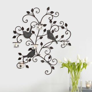 Adeco Decorative Iron Wall Hanging Tea Light Birds and Branches Candle Holder