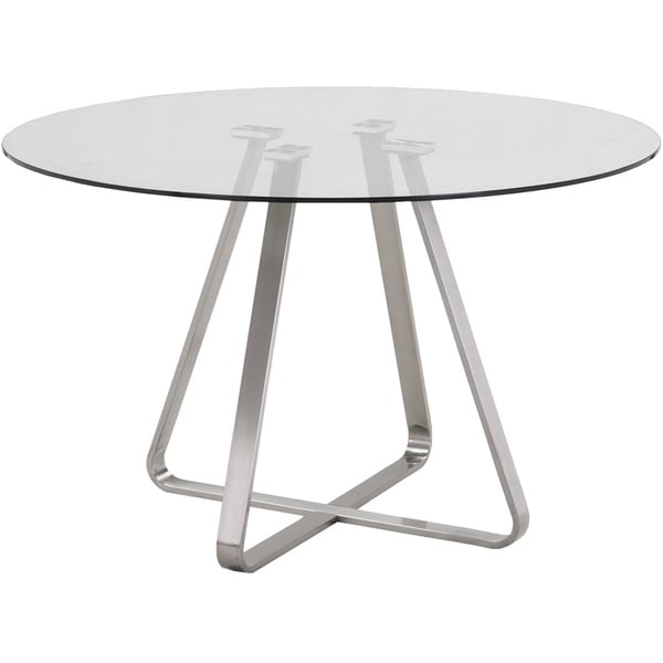 Cameo Modern Stainless Steel Dining Table With Clear Glass Top Part 59