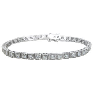 Plutus Brands Sterling Silver High Polish Round-cut Cubic Zirconia Anitque Style Bracelet