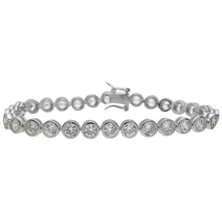 Plutus Brands Sterling Silver High Polish Round-cut Cubic Zirconia Bracelet