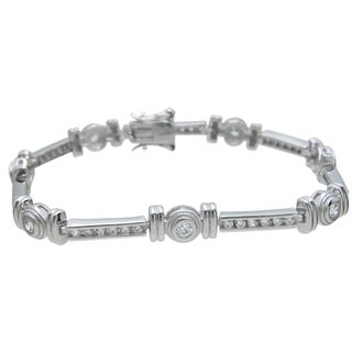 Plutus Brands Sterling Silver High Polish Cubic Zirconia Round-cut Bracelet
