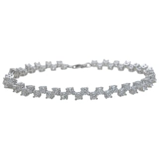 Plutus Brands Sterling Silver High Polish Round-cut Cubic Zirconia Fashion Bracelet