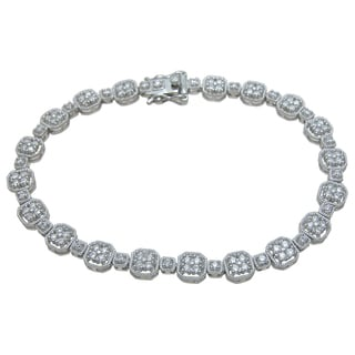 Plutus Brands Sterling Silver High Polish Cubic Zirconia Round-cut Antique Style Bracelet