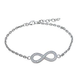 High Polish Sterling Silver Round-cut Cubic Zirconia Infinity Bracelet