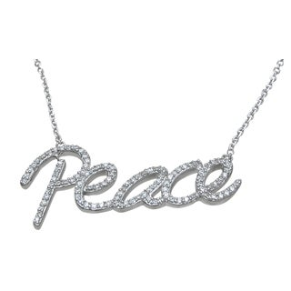 Plutus High Polish Sterling Silver Round-cut Cubic Zirconia Peace Necklace