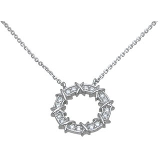 Plutus High Polish Sterling Silver Cubic Zirconia Open Circle Necklace