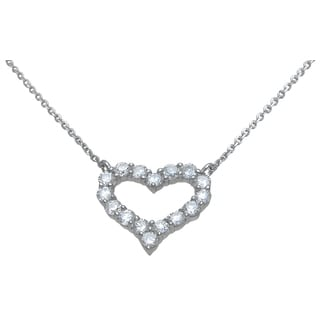 Plutus High Polish Sterling Silver Round-cut Cubic Zirconia Open Heart Necklace