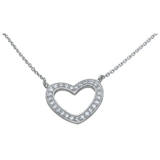 Plutus High Polish Sterling Silver Cubic Zirconia Open Heart Necklace
