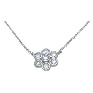 Plutus High Polish Sterling Silver Round-cut Cubic Zirconia Flower Necklace
