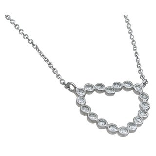 Plutus High Polish Sterling Silver Cubic Zirconia Round-cut Heart Necklace