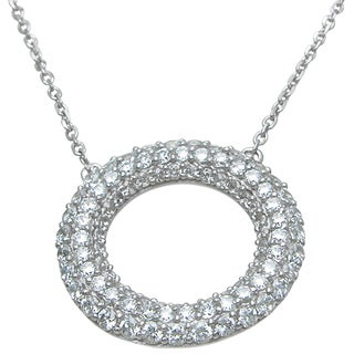 Plutus High Polish Sterling Silver Round-cut Cubic Zirconia Open Circle Necklace