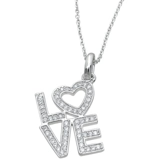 Plutus High Polish Sterling Silver Round-cut Cubic Zirconia Love Pendant