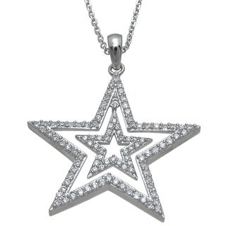 Plutus High Polish Sterling Silver Cubic Zirconia Double Star Pendant