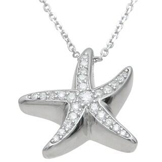 Plutus High Polish Sterling Silver Cubic Zirconia Star Fish Pendant