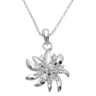 Plutus High Polish Sterling Silver Cubic Zirconia Unique Flower Pendant