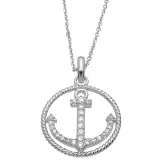 Plutus Sterling Silver Cubic Zirconia High Polish Anchor Pendant