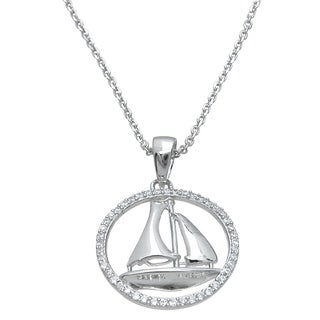 Plutus Sterling Silver High Polish Cubic Zirconia Sail Ship Marine Pendant