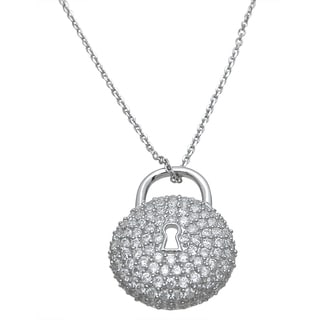 Plutus Sterling Silver High Polish Cubic Zirconia Circle Lock Pendant